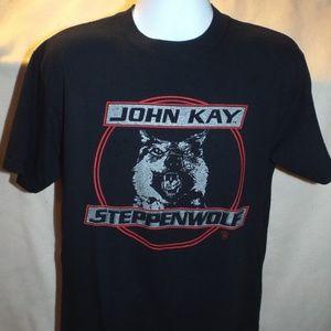 Mens John Kay Steppenwolf Black Band T-Shirt